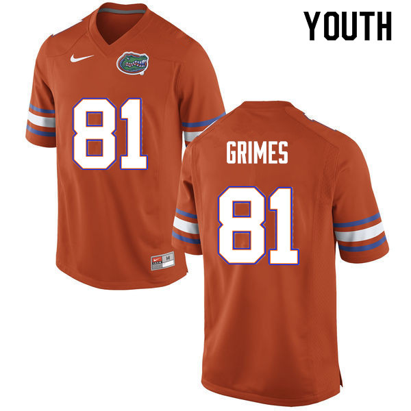 Youth #81 Trevon Grimes Florida Gators College Football Jerseys Sale-Orange