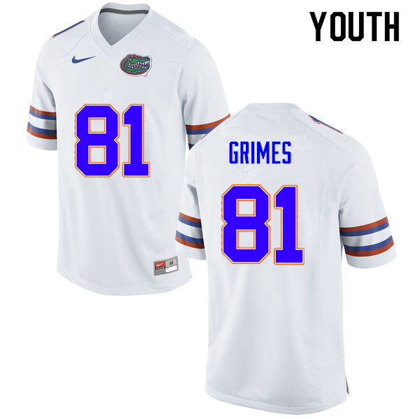 Youth #81 Trevon Grimes Florida Gators College Football Jerseys Sale-White