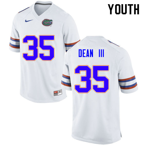Youth #35 Trey Dean III Florida Gators College Football Jerseys Sale-White